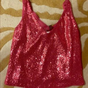 V neck sequin sparkle top Xsmall